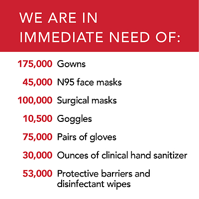 A list of supplies BAYADA currently needs: gowns, N95 face masks, surgical masks, goggles, pairs of gloves, hand sanitizer, protective barriers and disinfectant wipes