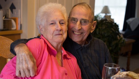 Tom and Gladys Stanley celebrating their 65th anniversary