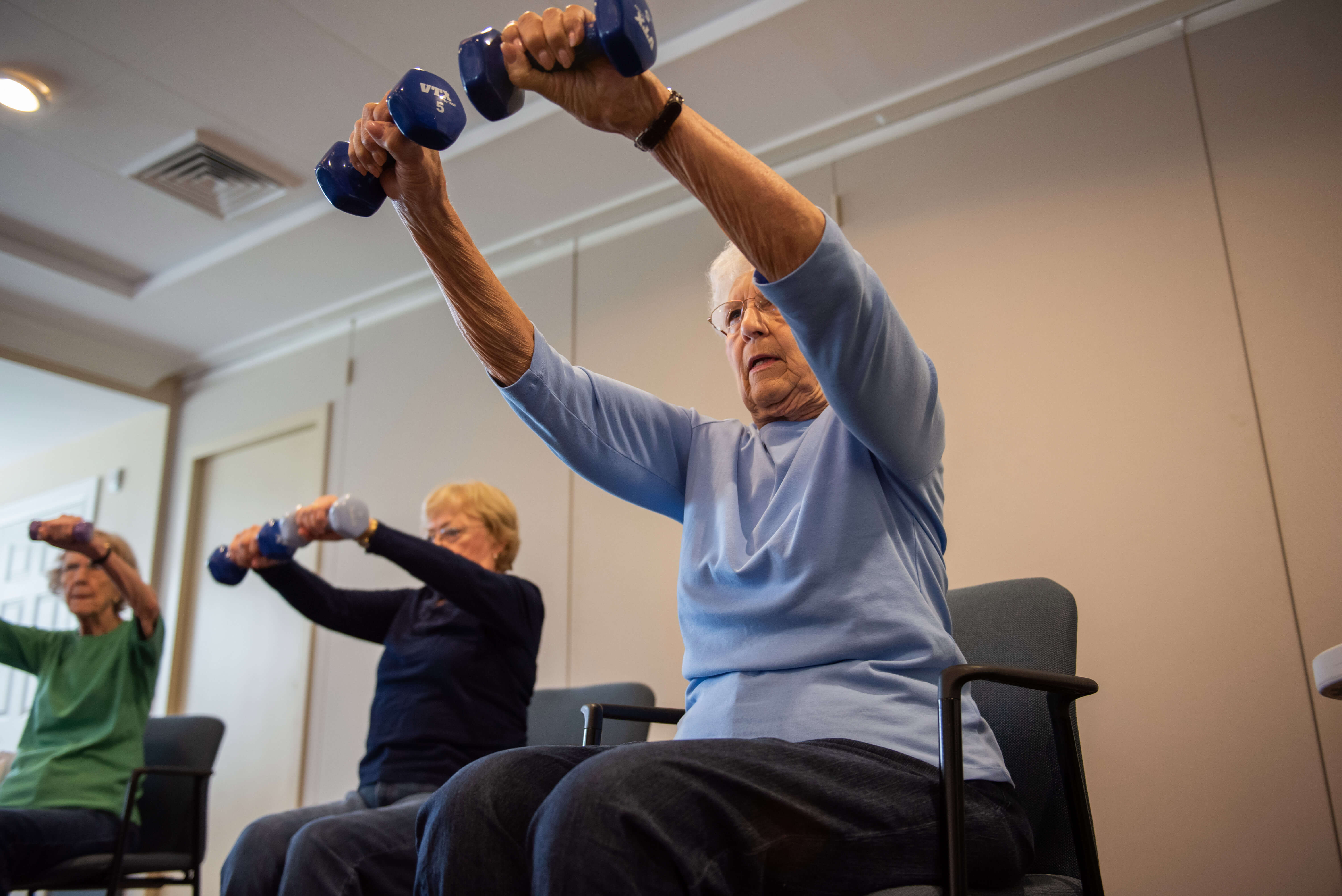 Senior stays fit to help prevent falls in the home