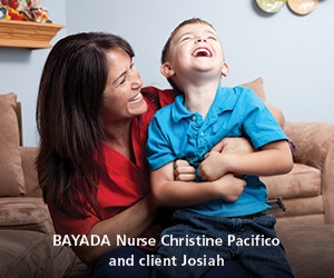 BAYADA Nurse and client laughing and enjoying the day
